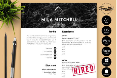 Modern Resume Template for Microsoft Word & Apple Pages Mila Mitchell