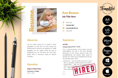Modern Resume CV Template for Microsoft Word & Apple Pages Ava Brown