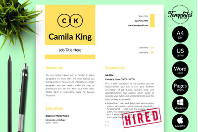 Modern Resume CV Template for Microsoft Word & Apple Pages Camila King
