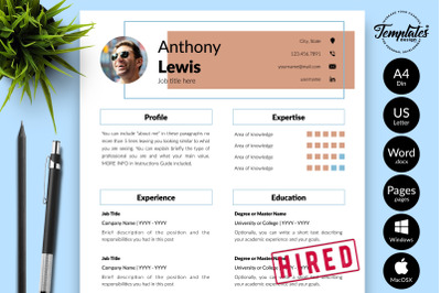Creative Resume Sample for Microsoft Word & Apple Pages Anthony Lewis