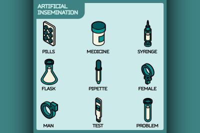 Artificial insemination icon set