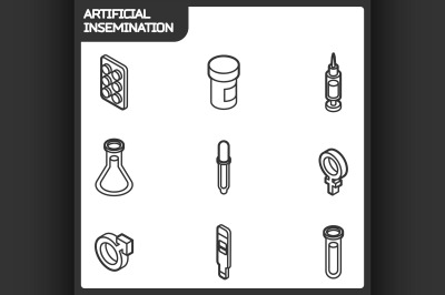 Artificial insemination outline isometric icons