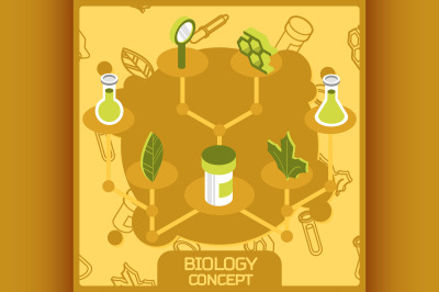 Biology color concept isometric icons