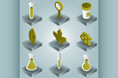 Biology color gradient isometric icons