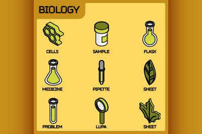 Biology color outline isometric icons