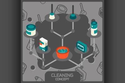 Cleaning color concept isometric icons