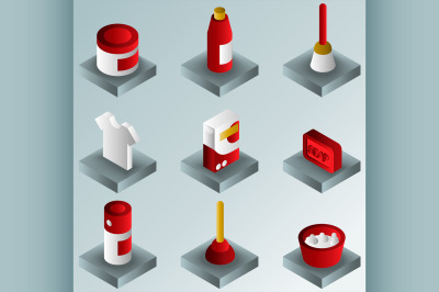Cleaning color gradient isometric icons