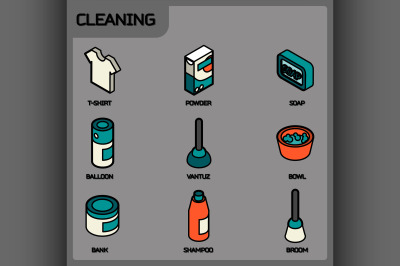 Cleaning color outline isometric icons