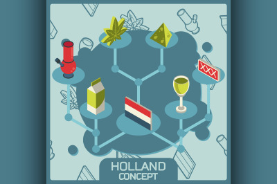 Holland color concept isometric icons