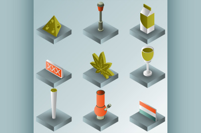 holland color gradient isometric icons