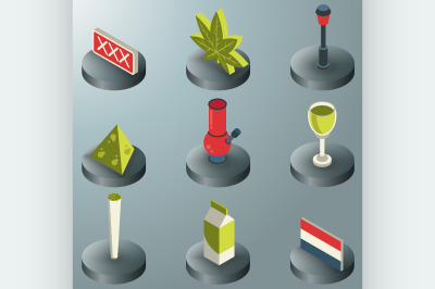 Holland color isometric icons