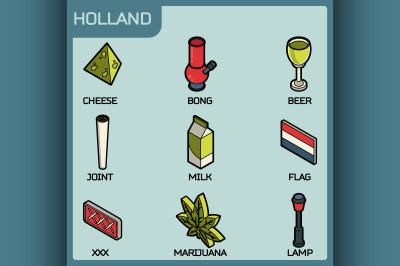 Holland color outline isometric icons