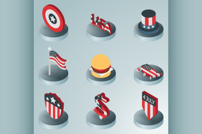 Independence day color isometric icons