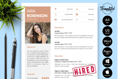 Creative Resume Sample for Microsoft Word & Apple Pages Aria Robinson