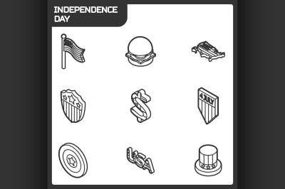 Independence day outline isometric icons