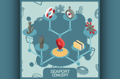 Seaport color concept isometric icons