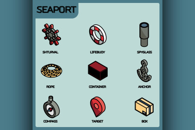 Seaport color outline isometric icons