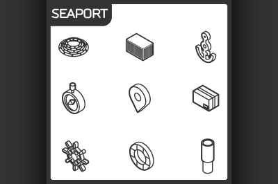 Seaport outline isometric icons
