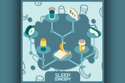 Sleep color concept isometric icons