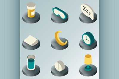 Sleep color isometric icons