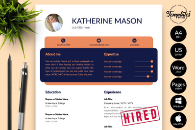 Creative CV Template for Microsoft Word & Apple Pages Katherine Mason