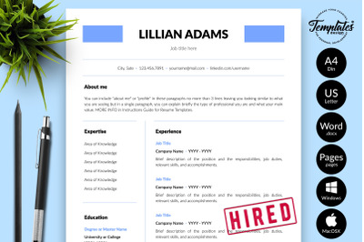 Simple Resume Template for Microsoft Word & Apple Pages Lillian Adams