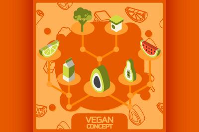 Vegan life color concept isometric icons set