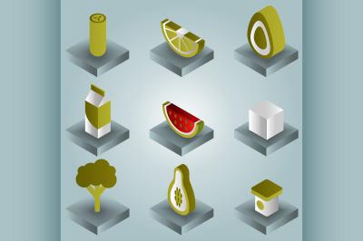 Vegan life color gradient isometric icons set
