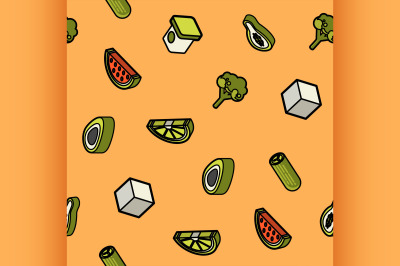 Vegan life color outline isometric icons