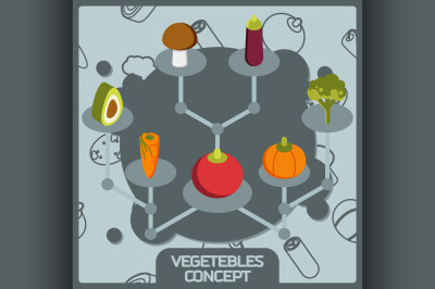 Vegetebles color concept isometric icons