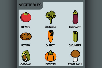 Vegetebles color outline isometric icons
