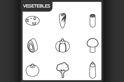 Vegetebles outline isometric icons