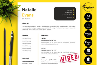 Simple Resume Template for Microsoft Word & Apple Pages Natalie Evans
