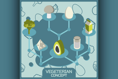 Vegeterian color concept isometric icons