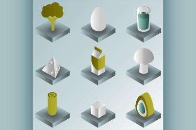 Vegeterian color gradient isometric icons