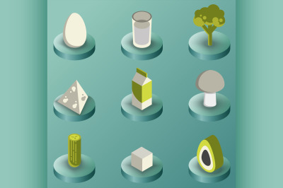 Vegeterian color isometric icons