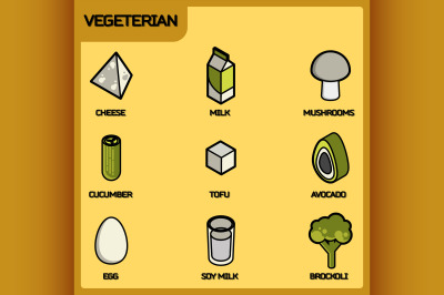 Vegeterian color outline isometric icons