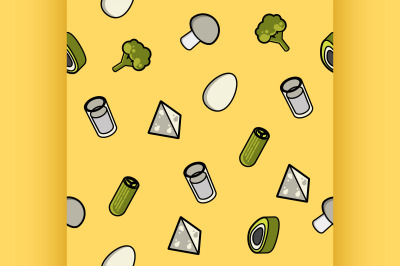 Vegeterian color outline isometric pattern
