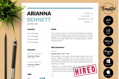 Simple Resume Sample for Microsoft Word & Apple Pages Arianna Bennett