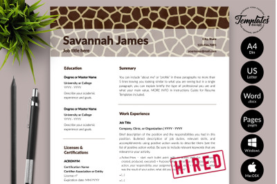 Animal Care CV Sample for Microsoft Word & Apple Pages Savannah James
