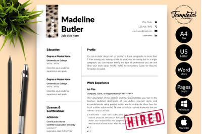 Animal Care CV Sample for Microsoft Word & Apple Pages Madeline Butler