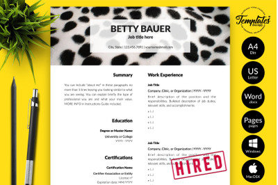Animal Care Resume Sample for Microsoft Word & Apple Pages Betty Bauer