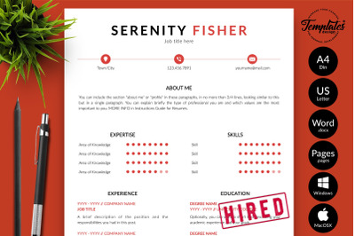 Modern Resume Sample for Microsoft Word & Apple Pages Serenity Fisher