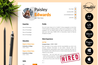Modern Resume Sample for Microsoft Word & Apple Pages Paisley Edwards