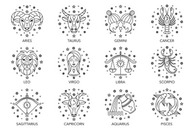 Zodiac signs. Line icons.