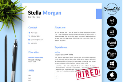 Simple Resume Template for Microsoft Word & Apple Pages Stella Morgan