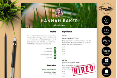 Creative Resume Template for Microsoft Word & Apple Pages Hannah Baker