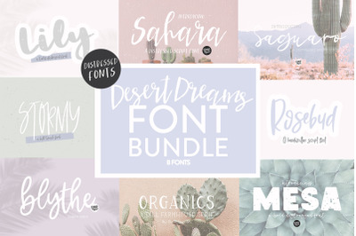 DESERT DREAMS Hand Lettered Brush Font Bundle