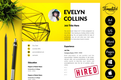 Modern Resume Template for Microsoft Word & Apple Pages Evelyn Collins