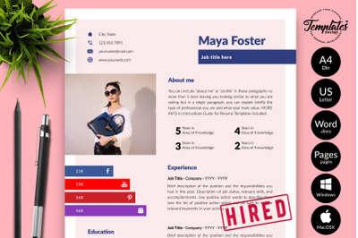 Modern Resume CV Template for Microsoft Word & Apple Pages Maya Foster